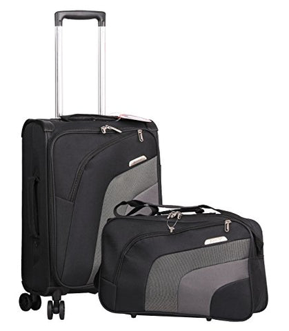 "Aerolite 21"" Carry On Ultra Lightweight Spinner Suitcase & Flight Bag Under Seat Shoulder Bag Set"