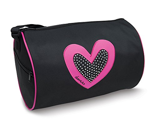 Dancer's Heart with Rhinestones Black Duffel Bag by Danshuz