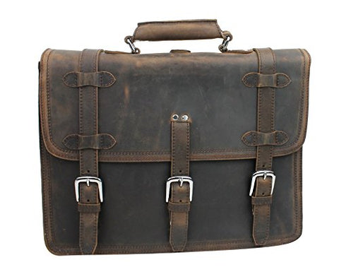 "Vagabond Traveler 17"" Macbook Pro Bag - 18"" Full Leather Briefcase Backpack - Lb06.Db"