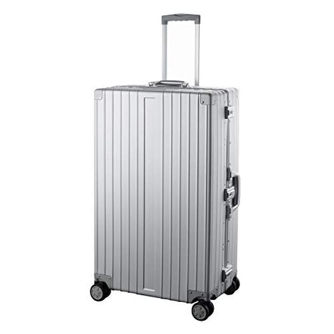 "TRAVELKING Multi-size All Aluminum Hard Shell Luggage Case Carry On Spinner Suitcase (20""-28"") (Silver, 24"")"