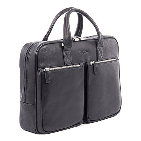 Bugatti Sartoria Medium Top Grain Leather Zipper Briefcase, Leather, Black