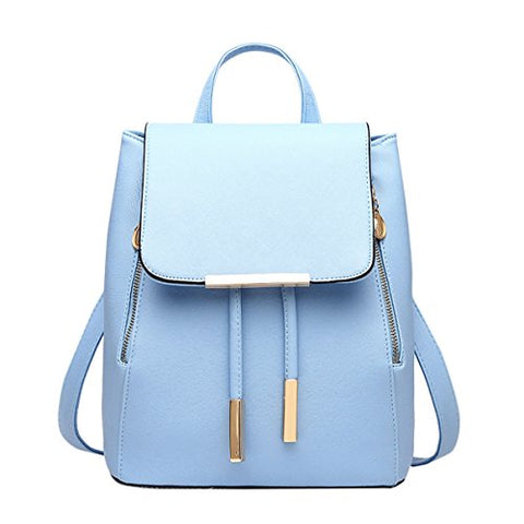 ABage Women's Leather Backpack Purse Casual Travel School Drawstring Flap Backpack, Light Blue
