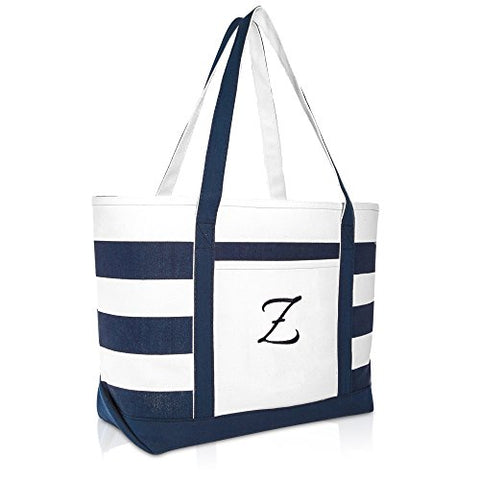 DALIX Premium Beach Bags Striped Navy Blue Zippered Tote Bag Monogrammed Z