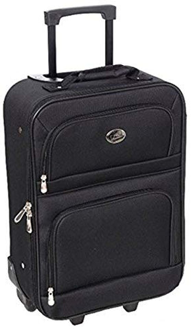 Jetstream 20 Inch Lightweight Luggage Softside Carry On Suitcase (Black)