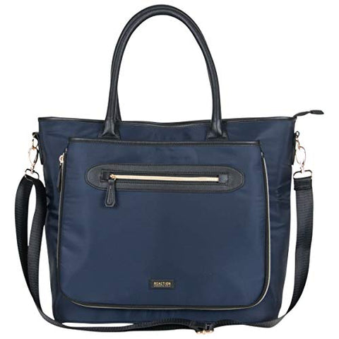 "Kenneth Cole Reaction Women's Silky Polyester Top Zip 15"" (RFID) Laptop Tote Navy One Size"