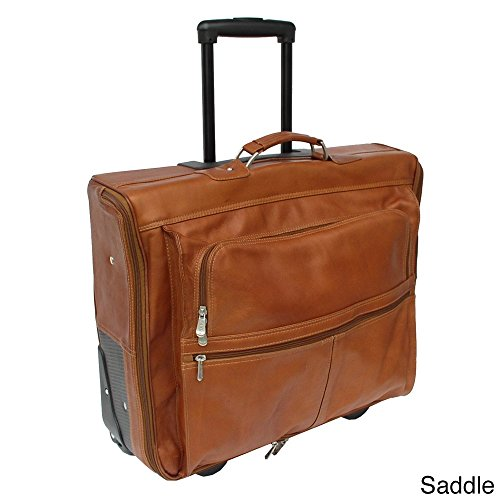 Piel Leather Garment Bag On Wheels, Saddle, One Size