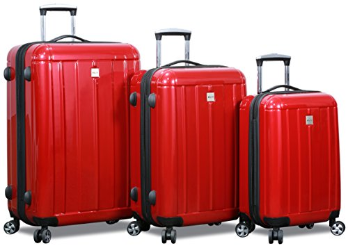 New Dejuno Polycarbonate Hard Shell Luggage Set (Red)