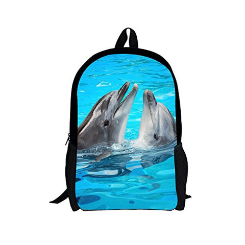Children Back to School Bag Dolphins Print Customized Primary School Backpack