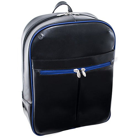 "McKlein, L Series, Avalon, Top Grain Cowhide Leather, 15"" Leather Laptop Slim Backpack, Blk/Navy Trim (87885)"