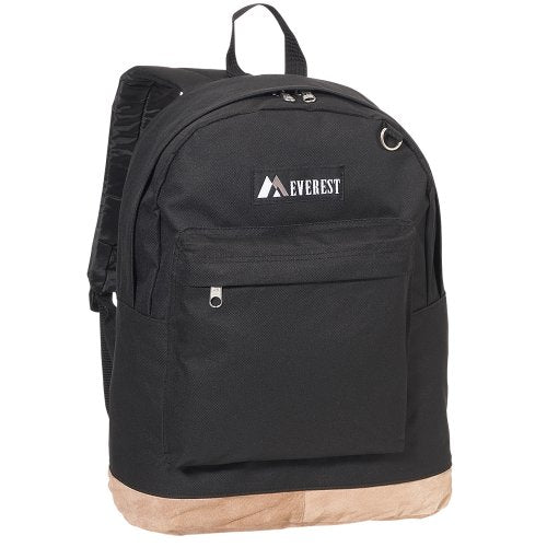 Everest Luggage Suede Bottom Backpack, Black, Large