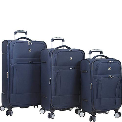 Dejuno Symphony Lightweight 3-Piece Spinner Luggage Set-Navy