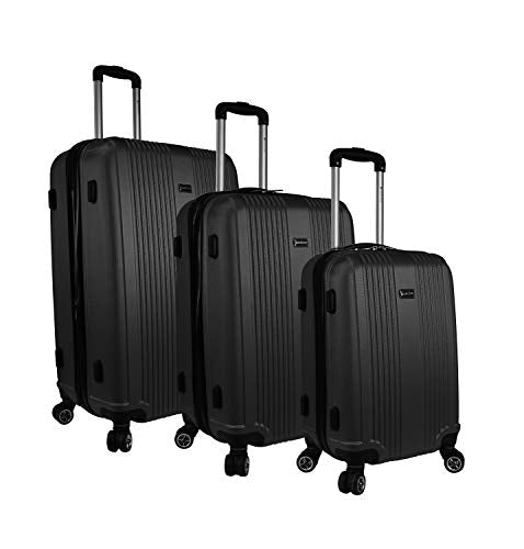 Mancini Santa Barbara Lightweight Spinner Luggage Set in Black