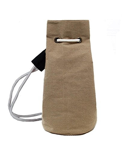 BIBITIME Bucket Cylindrical Shaped Drawstring Backpack Trip Sack Pack Cinch Canvas Gym String Bag Soccer ball Basketball Shoulders Bag Physical fitness Sackpack (10.7' Diameter x 20.5' H, Khaki)