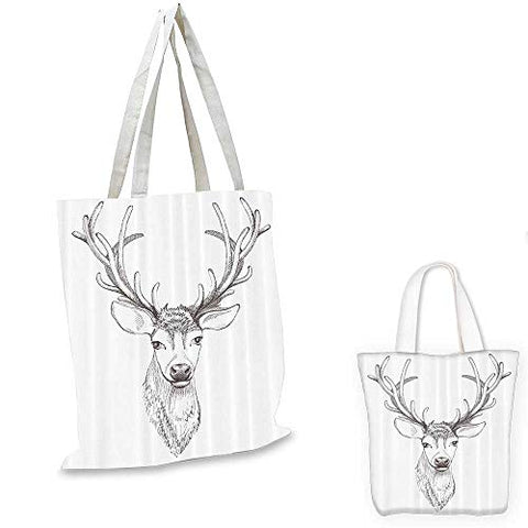 Antlers canvas messenger bag Sketch of Deer Head Illustration Style Black and White Monochromic