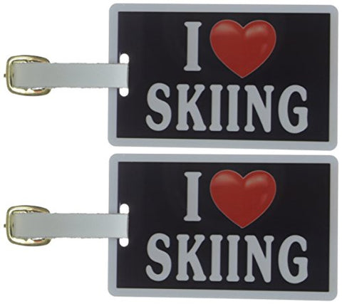 Tag Crazy I Heart Skiing Two Pack, Black/White/Red, One Size