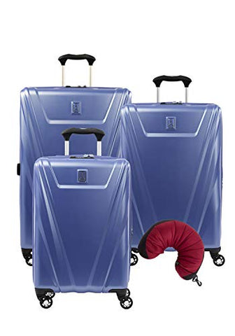 Travelpro Maxlite 5 Hardside 4-PC Set: Exp. C/O, 25-Inch and 29-Inch Spinner with Travel Pillow (Azure Blue)