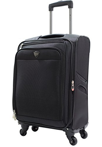 "Travelers Club 20"" ""The Merit"" Expandable Rolling Carry-On Luggage with Premium Features and Upgrades, Black"