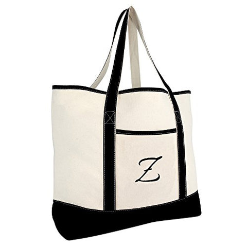 DALIX Monogram Bag Personalized Totes For Women Open Top Black Letter Z