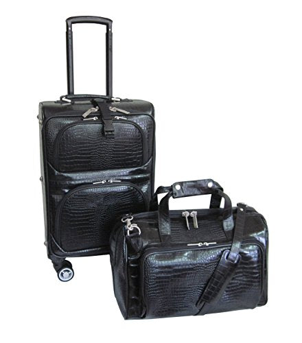 Amerileather Leather Croco-Print Two Piece Set Traveler On Spinner Wheels (#8602-0) (Black)