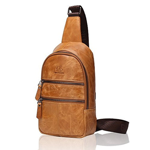 Bison Denim Mens Genuine Leather Sling Backpack Outdoor Shoulder Chest Pack Unbalance Crossbody Bag