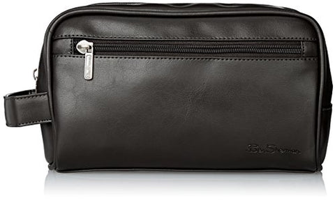 Ben Sherman Luggage Mayfair Grainy Pvc Top Zip Single Compartment Travel Kit, Black