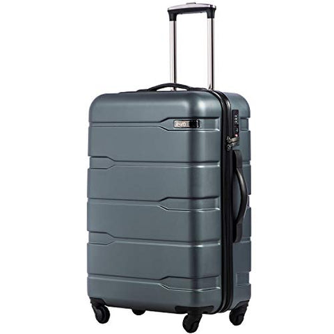 "Coolife Luggage Expandable(only 28"") Suitcase PC+ABS Spinner Built-In TSA lock 20in 24in 28in Carry on (Teal, S(20in_carry on))"