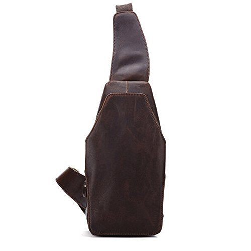 Sealinf Men'S Full Grain Leather Crossbody Chest Sling Bag Backpack (Reddish Brown)