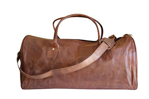 Sharo Leather Bags Leather Duffle Carry-On Travel Bag (Brown)