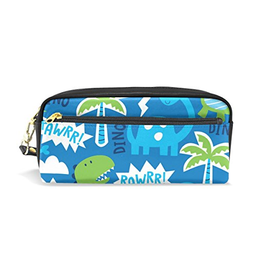 ColourLife Dinosaur Animal Pattern PU Leather Pencil Case Holder Pouch Makeup Bags for Boys Girls Adults