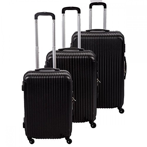 New Black 3 Pcs Luggage Travel Set Bag Abs Trolley Suitcase