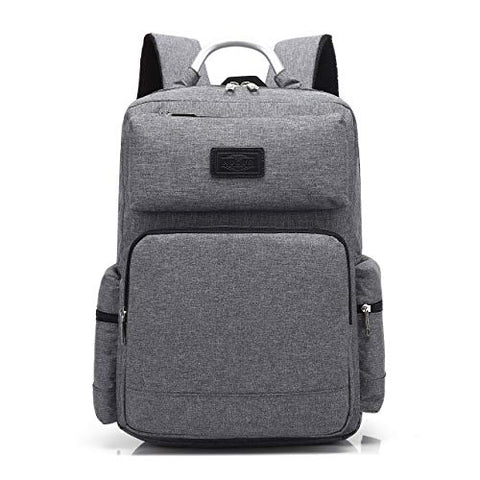 "AUGUR 15.6""Classic Laptop Backpack Oxford Fabric Travel Rucksack for Men Women (Grey)"
