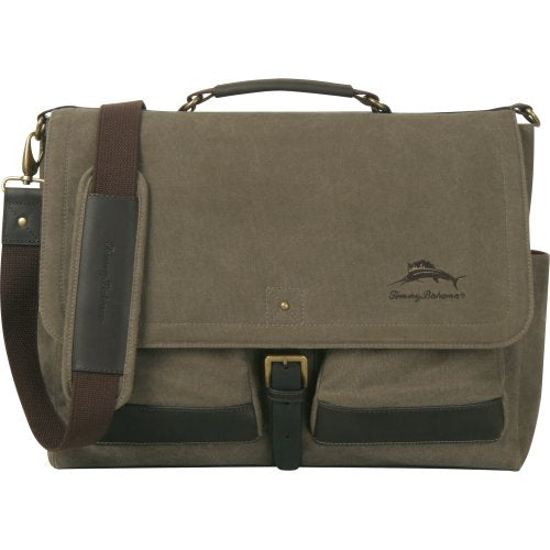 Tommy Bahama Luggage Big Island 17 Inch Messenger Bag, Olive/Dark Brown, One Size