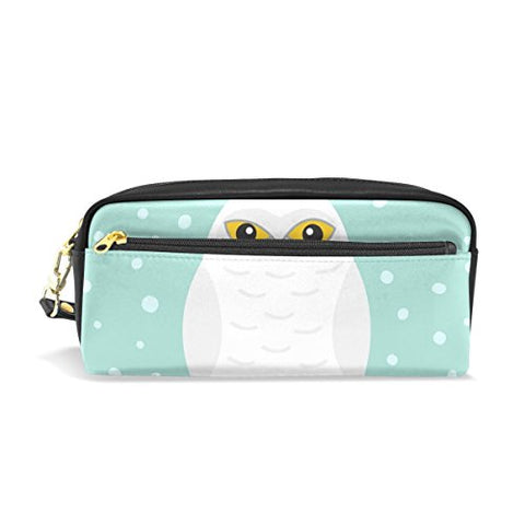 Colourlife White Snow Owl Pu Leather Pencil Case Holder Pouch Makeup Bags For Boys Girls Adults