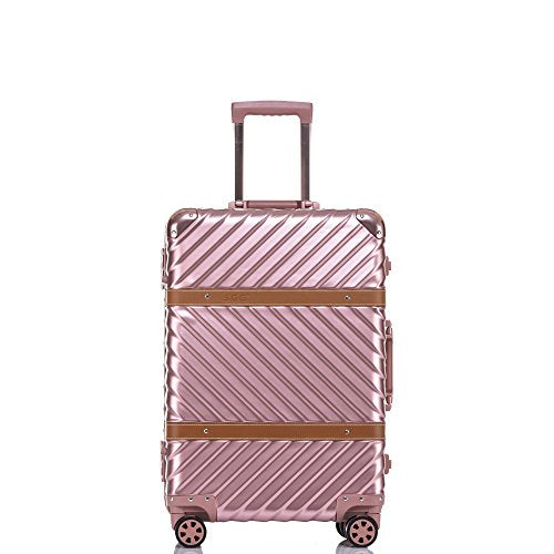 Travel Luggage, Aluminum Frame Hardside Suitcase With Detachable Spinner Wheels 20 Inch Rose Gold