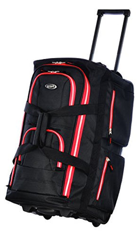 "Olympia 22"" 8 Pocket Rolling Duffel, Black+Red, One Size"