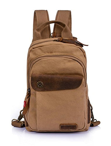 Augur Men's Vintage Canvas Leather Shoulder Bag School Backpack Sling Satchel (Khaki)