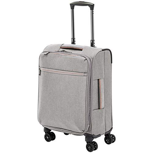 AmazonBasics Belltown Softside Luggage Spinner Suitcase Spinner - 21-Inch, Heather Grey