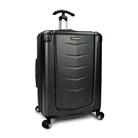Traveler'S Choice Silverwood Polycarbonate Hardside Expandable Spinner Luggage Case - Brush Metal