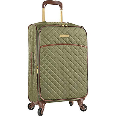 "Anne Klein 21"" Expandable Softside Spinner Carryon Luggage, Olive Quilted"