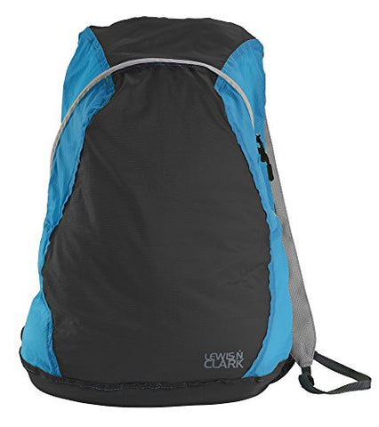 Lewis N Clark Electrolight Multipurpose Packable Lightweight Travel Backpack, Charcoal/Bright Blue,