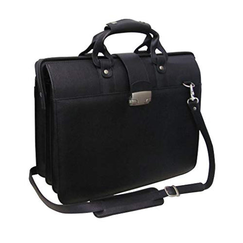 Single Piece Black Litigator Briefcase, Leather Carriage Bag, Business And Softside Type, Locking
