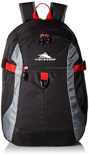 High Sierra Sportour Computer Backpack, Black/Charcoal/Crimson Red,