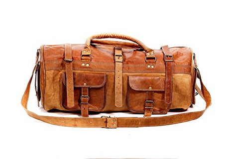 Duffel Bag 22'' Travel Bag Travelling Bag Backpack Genuine Leather Vintage Handmade Bag (Style 4)
