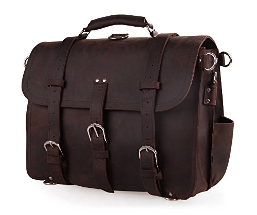 Polare Men'S Full Grain Leather 16'' Briefcase Shoulder Messenger Bag Fit 15.6'' Laptop