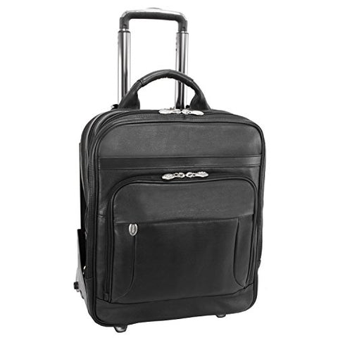 "McKlein, I Series, Wicker Park, Full Grain Cashmere Napa Leather, 17"" Leather Patented Detachable -Wheeled Three-Way Laptop Backpack Briefcase, Black (47195)"