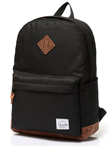 Vaschy Unisex Classic Lightweight Water-Resistant Campus School Rucksack Travel Backpack Bookbag