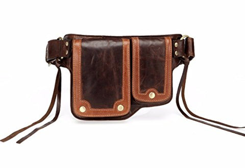 Vicenzo Leather Ronny Leather Waist Bag Fanny Pack (Dark Brown)