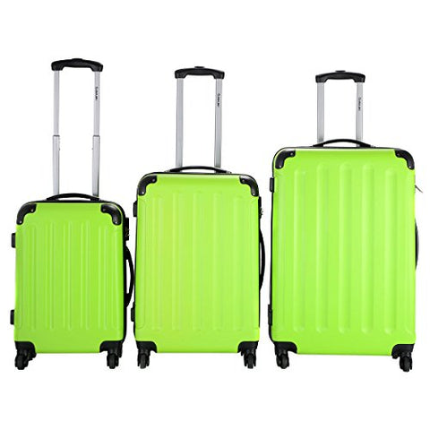 Green 3 Pcs Luggage Travel Set Bag ABS+PC Trolley Suitcase