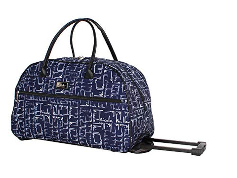 Nicole Miller Wheeled Duffel Carry On Bag (14in, Signature Navy)