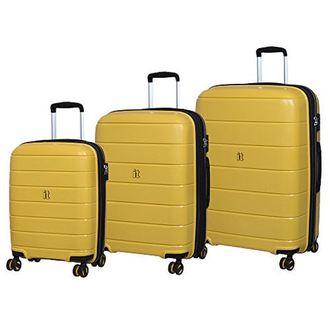 IT Luggage Asteroid 8-Wheel Hardside Expandable 3-Piece Set, Cheese Yellow